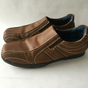 POD SHOES BROWN Tan Real LEATHER Casual Smart Loafers Mens UK 9 MINT £60