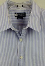 J.Crew Haberdashery L 16-16 1/2 Button Front Long Sleeve Blue Stripe Mens