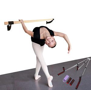 "2"" Single Bar Wood Wall Mount Ballet Barre 8Ft Black w 3 Bar Leg Stretcher split"