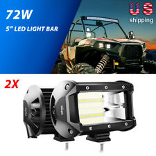Nilight 2PCS 5 inch 72W Work Flood LED Light Bar Driving Fog Lights Off Road 4WD