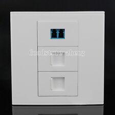 Wall Face Plate Fiber Optical LC Connector Coupler +RJ45 +RJ11  Socket Faceplate