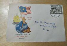 Malaysia 1957 Merdeka Malaya Tunku Abdul Rahman stamp FDC KL ship tiger type 2