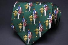 SALVATORE FERRAGAMO Silk Tie. Green w Tennis Pro Medal Trophy Motif.