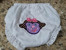 White Eyelet Diaper Cover Size 3 w/a Purple Girl Monkey Embroidered on the Back