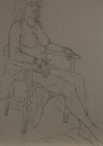 20th Century Charcoal Drawing - Nude Study of a Lady with Bangles
