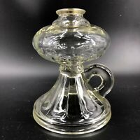 Antique Clear Pressed Glass Oil Hurricane Lamp Base Finger Handle Threaded Open