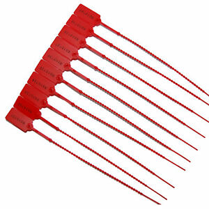 10 X Red Plastic Security Tags Numbered Pull Ties Secure Anti-Tamper Seals