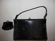 vintage AFTER FIVE  moc croc alligator python  embossed  pin up shiny hand bag