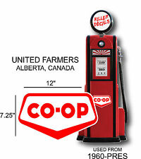 "12"" 1960-PRES CANADIAN COOP CO-OP GASOLINE VINYL DECAL OIL CAN/GAS PUMP/LUBSTER"