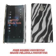 Pellicola+custodia BACK COVER RIGIDA ZEBRA VERTICALE per Sony Xperia sola MT27I