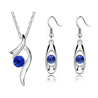 Dark Royal Blue Ribbon Crystal Bridal Jewellery Set Drop Earrings Necklace S479