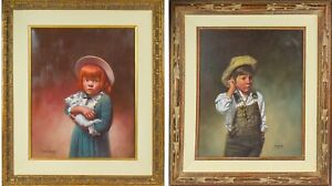 Lot of 2 Original Jim Daly Paintings: Girl with Kitten, Boy in Overalls - PH6