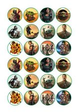 24 x Baby Yoda / Mandalorian Star Wars Cup Cake Toppers Rice / Wafer Paper
