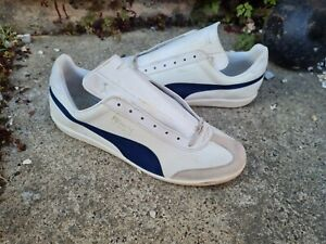 Vinatge Puma Top Winner Mens Trainers UK 9.5 made in Italy leather white