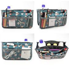 Travel Insert Organizer Handbag Purse Large Liner Women Makeup Organiser Bag UK Blue Flower