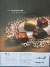4/1991 PUB BOEING CANADA DE HAVILLAND DASH 8 SABENA AIRLINE CHOCOLAT DENTELLE AD