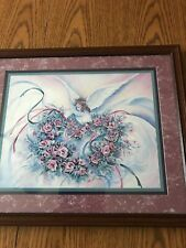 Homco Home Interiors Picture 18.5 x 15.5 Angel Flowers Ribbons Buckley Artist