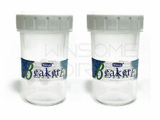 Twin Pack 2 x 400ml Clear Natural Plastic Beaker Shaker With Screw Top White Lid