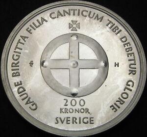 SWEDEN 200 Kronor 2003 Proof - Silver - Saint Birgitta - 1795 ¤