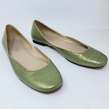 Talbots Green Gold Metallic Reptile Print Leather Ballet Flats Shoes Size 8.5