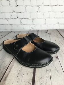 Finn Comfort Women's Sz 40 Iconic Shoes Mary Jane Clogs Black Leather Slip On