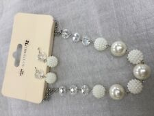 Pearl beads  & clear rainbow finish short necklace matching earrings & bracelet