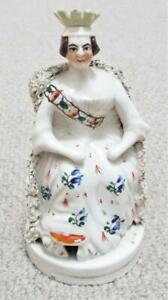 Young Queen Victoria Antique Staffordshire Pottery Figurine Flatback c1850