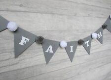 Handmade Personalised Wooden Bunting, grey and white, baby shower, cake smash