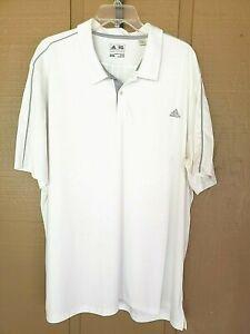 Adidas Big/Tall Polo Shirt 2XL White/Gray Short Sleeve 2 Button