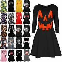 Womens Printed Pumpkin Halloween Costume Ladies Smock Flared Mini Swing Dress