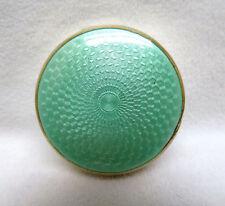 Antique Sterling Silver, Gilt & Mint Green Guilloche Enamel Trinket Pill Box