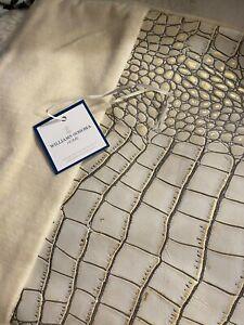 "Williams Sonoma Crocodile Embossed Leather & Velvet Pillow Cover 14"" x 21"""