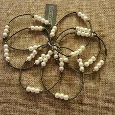 New RJ Graziano Stretch Bronze 7 Bracelet Set With Faux Pearls