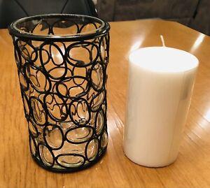 Black Trellis Glass & Metal Hurricane Candle Holder W/ White Pillar Candle. New!