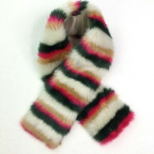 J.Crew Striped Colorful Faux Fur Boa Scarf Green Pink Nude Vanilla One Size