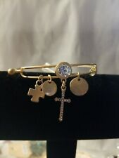 Women's Fashion Jewelry Bangle Bracelet Gold Cross Accents