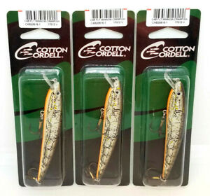 (LOT OF 3) COTTON CORDELL CAB FLOATING MINNOW FISHING LURES - CRAWFISH