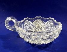NUCUT Imperial? Clear Pressed Glass Nappy Dish w Handle Candle Holder Candy