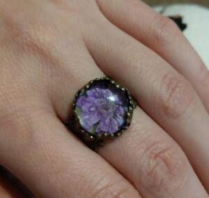 Real flower ring nature handmade adjustable bronze filigree purple