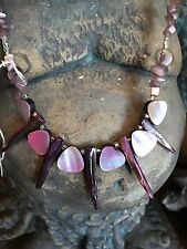 Fashion Mother Of Pearl Beads horn pendant Necklace Handmade