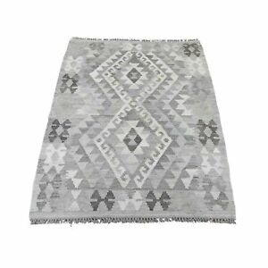 """3'x4'2"""" Undyed Natural Wool Afghan Kilim Reversible Hand Woven Rug R44122"""