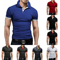 Mens Stylish Casual Slim Fit Short Sleeve Polo Shirt T-shirts Muscle Tee Shirt
