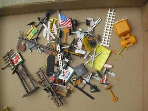 Lot of HO Scale Small Accessories with Signs Construction and More