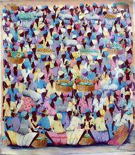 """ORIGINAL HAITIAN ART OIL PAINTING ARTIST JEAN CLAUDE BLANC """"MARCHE"""" 24X20 HAITI"""