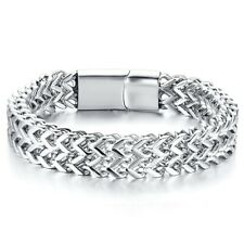 "Stainless Steel Men's 8"" Polished Double Franco Link Chain Bracelet"