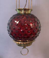 Ca.1910 Antique VICTORIAN Style CRANBERRY Art GLASS Hanging OIL LAMP Chandelier