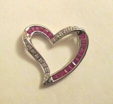 1.25 Carat 10K Gold Diamond & Ruby Heart Pendant  24X22 MM  All Genuine Stones