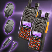 2* Baofeng GT-5TP 2m/70cm VHF UHF 8W HP Two-way Radio & 2* Speaker & Cable US