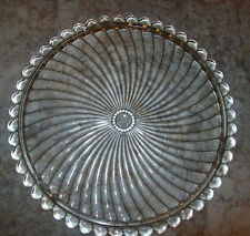 """CLEAR GLASS 12.5"""" CAKE PLATE PINWHEEL DESIGN WITH BUBBLE EDGE"""