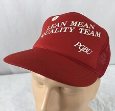 Vtg PGBU Hat Snapback Trucker Cap Lean Mean Quality Team Mesh Red c757d811b29e
